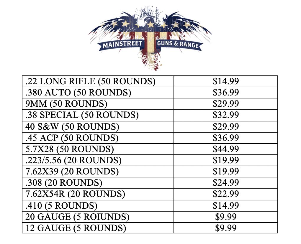 Mainstreet Guns and Range New Ammo Prices 2020